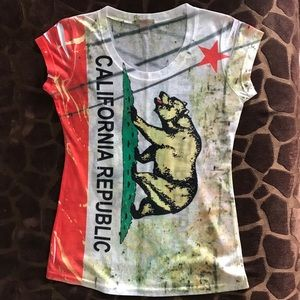 Rosie California flag stretch T.